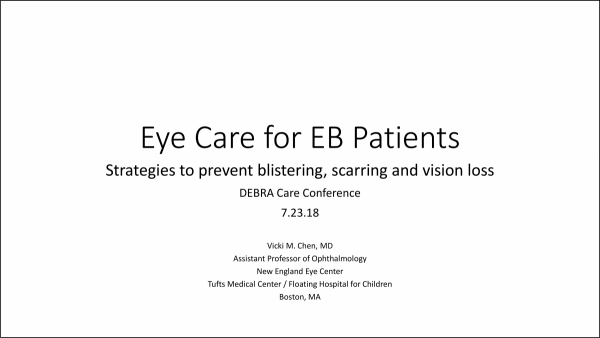 Cover Slide for 2018 DCC Presentation on Eye Care